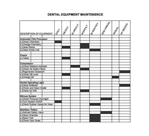 equipment log book template sle maintenance log template 9 free documents in pdf