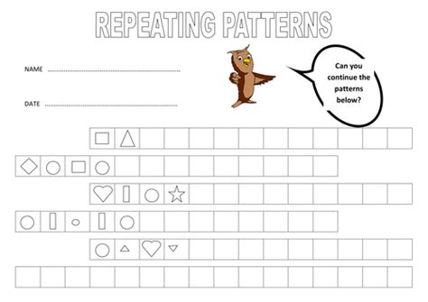 pattern worksheet ks1 repeating patterns using shape and colour by alexabennett