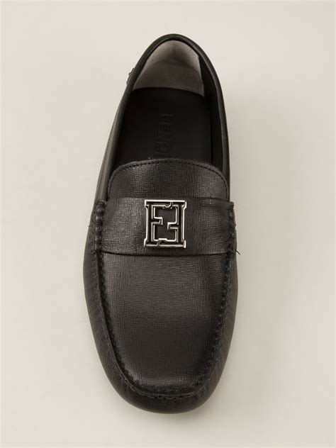 fendi loafers mens fendi logo detail loafer in black for lyst