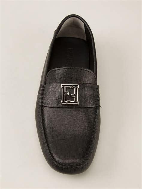 Slip On Fendi 2456 W fendi logo detail loafer in black for lyst