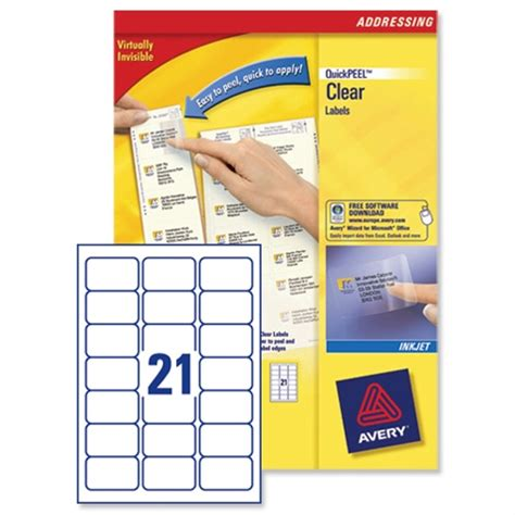 Avery 21 Per Sheet Clear Labels Pack Of 525 Buy Online At Huntoffice Ie Q Connect Labels 8 Per Sheet Template