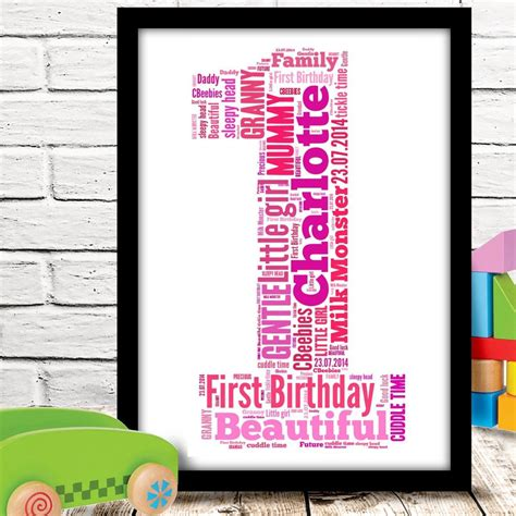 personalised 1st first birthday gift baby girl or boy