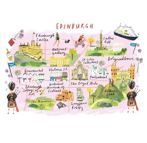 map of edinburgh scotland the daily hunt illustrated maps edinburgh scotland and