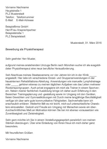 Anschreiben Bewerbung Physiotherapeut Muster Gt Bewerbung Als Physiotherapeut