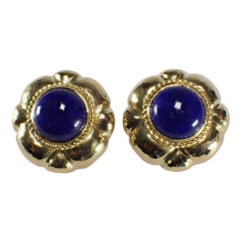 Anting Lapis 18k 10 18k yellow gold lapis earrings attos antique estate jewelry