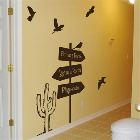 road wall stickers arrow road sign cactus birds personalized wall decals