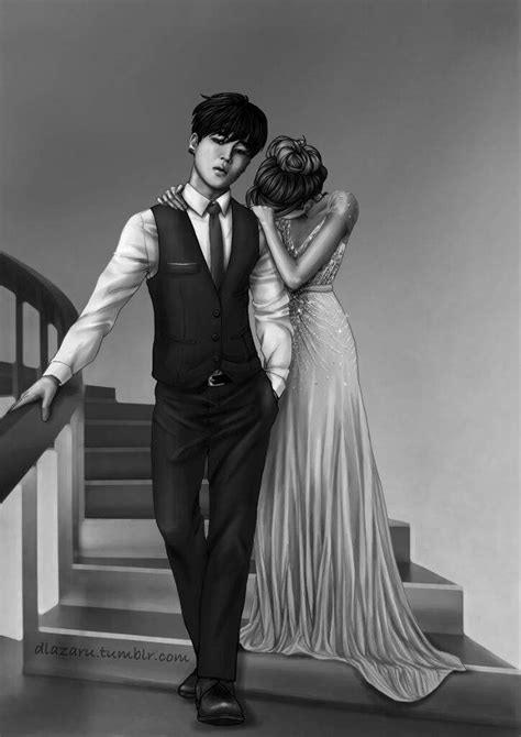 BTS Prom Fanart( black and white) and Jin and Suga Fanart
