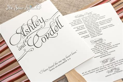 Matching Paddle Fan Program Diy Printable Diy Wedding Program Template