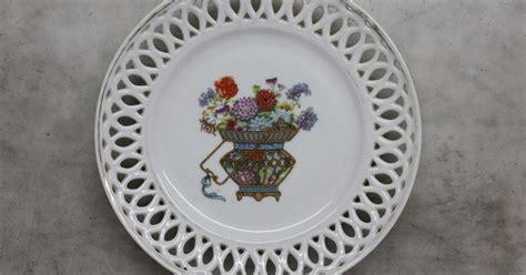 Keranjang Piring antikpisan piring jepang kerawangan motif keranjang bunga