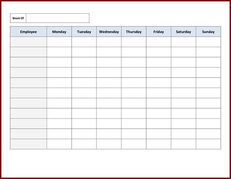 Excel Monthly Schedule Template by Monthly Employee Work Schedule Template Excel And 13 Free