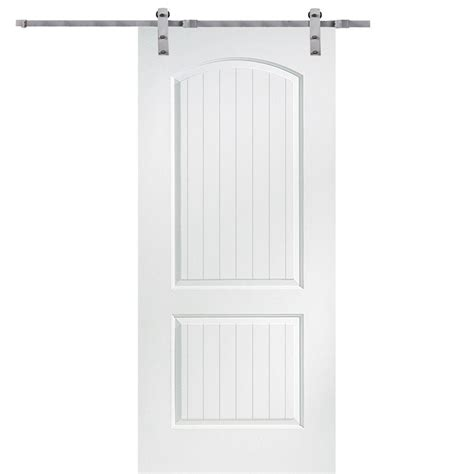 36 Sliding Closet Doors Mmi Door 36 In X 80 In Primed Santa Fe Smooth Surface Solid Door With Barn Door Hardware