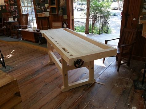 bench crafted completed workbench class heritage school of woodworking