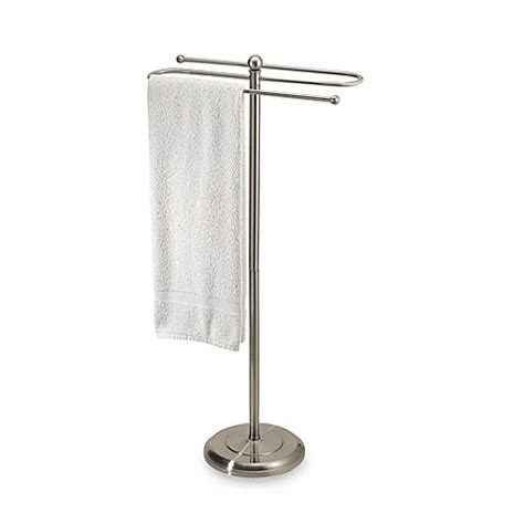 towel stand for bathroom 2 tier satin nickel towel stand bed bath beyond