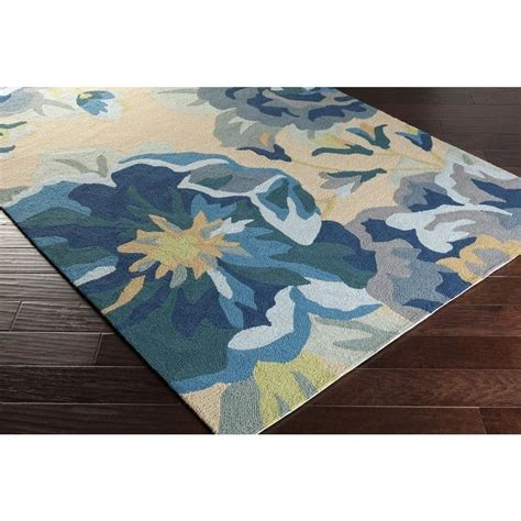 Designer Outdoor Rugs Blue Roses Floral Outdoor Rug