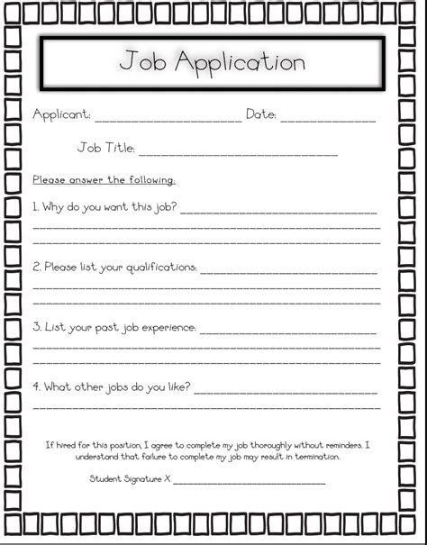 printable job application for teenager 6 best images of printable job application worksheets