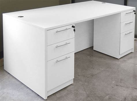 white desk with drawers white 4 office furniture package