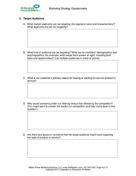 marketing questionnaire template basic marketing strategy questionnaire by mobile phone
