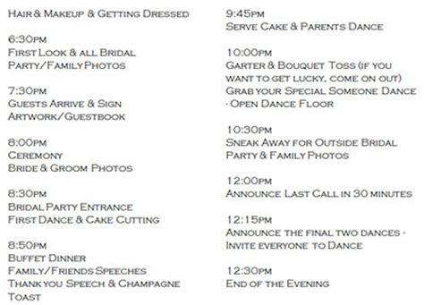 Wedding Ceremony Schedule by Wedding Day Schedule Help Weddings Planning