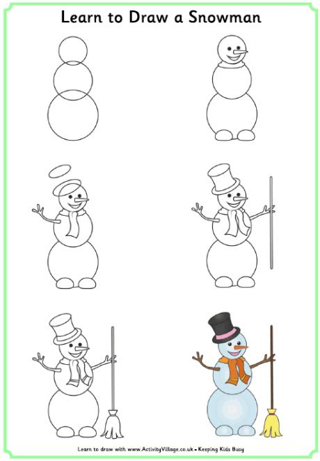 learn to draw a learn to draw a snowman