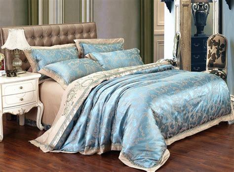 Superking Bedding Sets Patten Two Sky Blue Noble King Comforter Sets Bedspreads Luxury Silk Bedding Set Bed