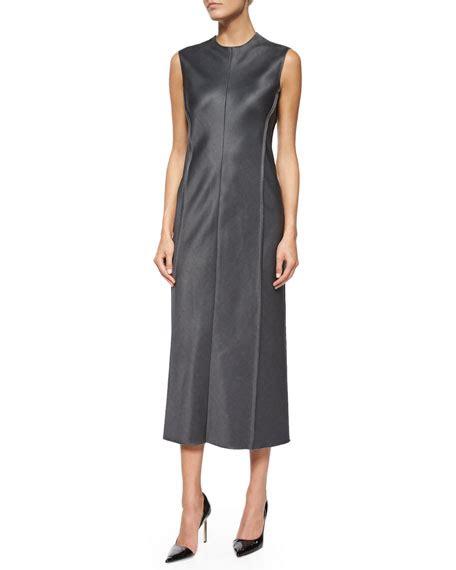 the row asca sleeveless midi sheath dress in blue lyst victoria beckham sleeveless faux wrap textured dress cream