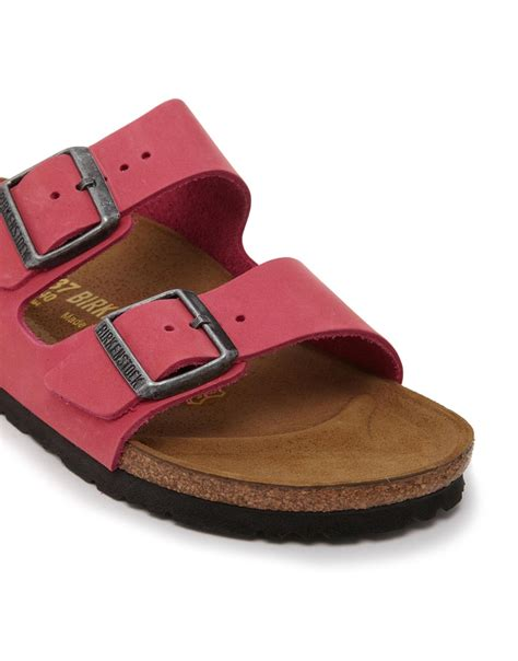 Cayona Leather Flat Pink birkenstock arizona leather pink nubuck flat sandals in pink lyst