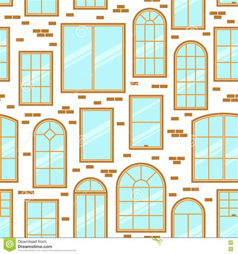 Different Windows Designs Vector Seamless Pattern Of Different Types Of Windows Flat Style Stock Vector Illustration Of