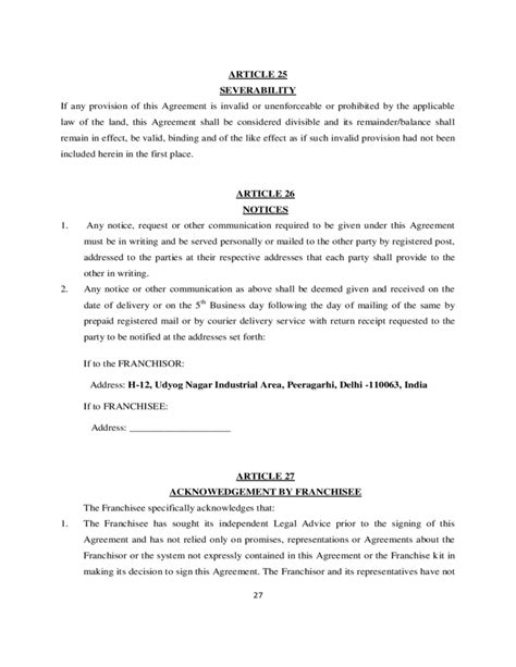 franchise template agreement franchise agreement sle template free