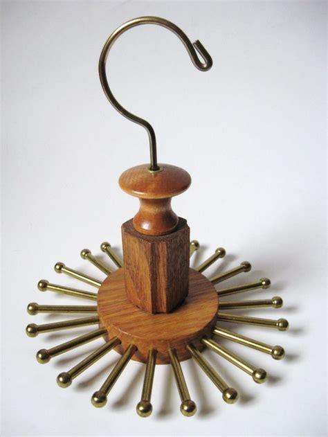 Tie Hanger - vintage modernist wood brass hanging revolving 24 peg