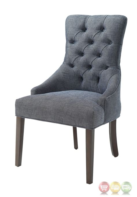 Blue Gray Accent Chairs Caprice Button Tufted Blue Grey Linen Accent Chair