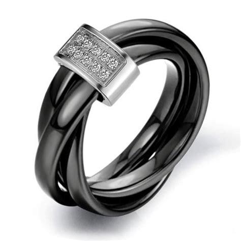 s ceramic rolling wedding band ring black