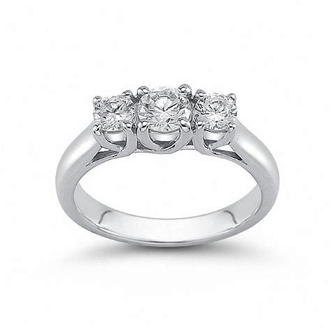 1 2 ct t w three band in 14k white gold h