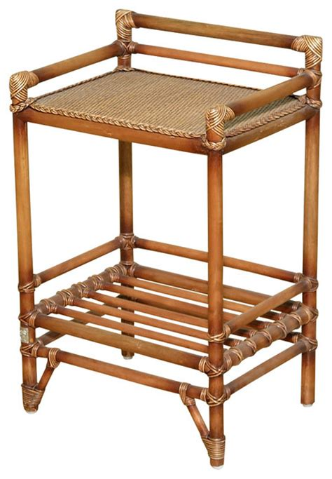 rattan accent table solid wood w rattan accent table stands 2 shelf table