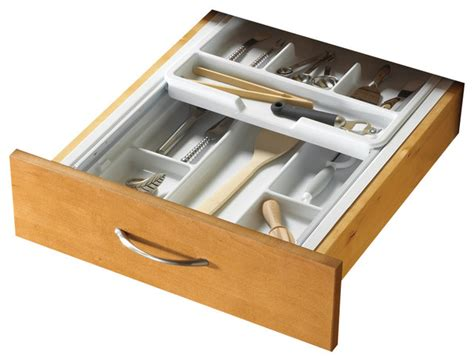 Kitchen Drawer Organizer Two Tiered Cutlery Organizers In White Contemporary