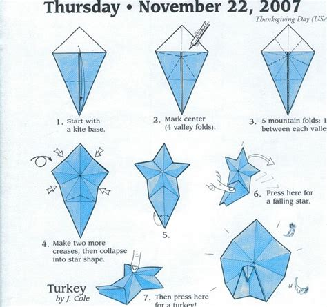 printable origami turkey instructions turkey origami pinterest