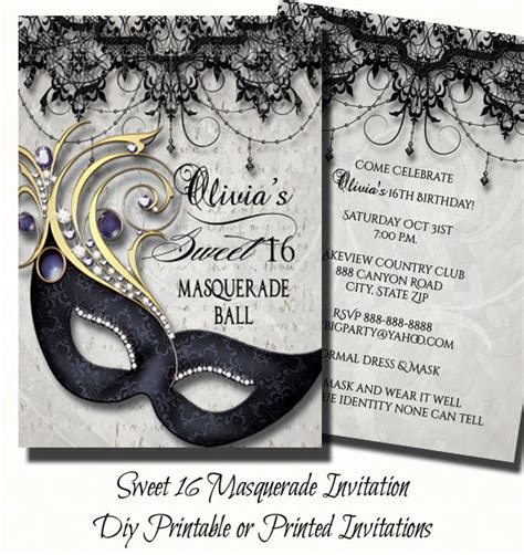 printable invitations masquerade sweet sixteen masquerade party invitation by theinspirededge