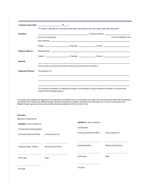 material transfer agreement template 7 material transfer forms free sles exles format