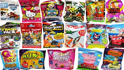 18 surprise blind bags lego angry birds star wars moshi monsters disney planes cars peppa pig
