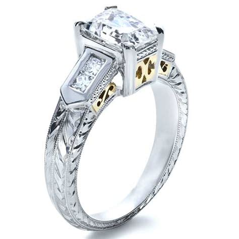 two tone engraved engagement ring 1191