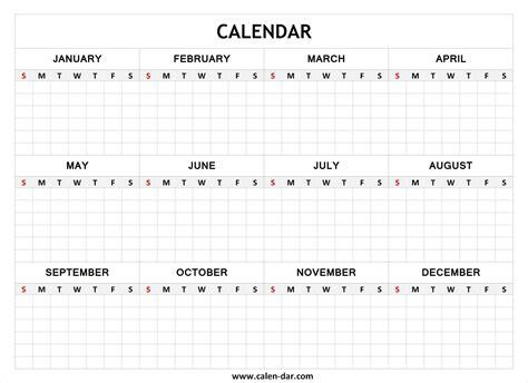 Blank Year Calendar Blank Calendar Free Printable Calendar Templates Printable Calendar Year Planner Template