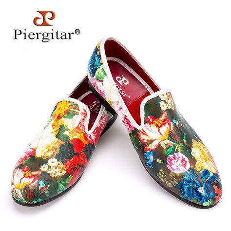 flower dress shoes piergitar new style flower and leaf pattern printing white