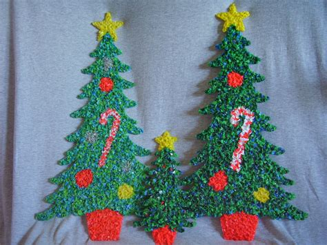 Melted Plastic Popcorn Decorations by Melted Plastic Popcorn Decorations Two Large One Small Trees Other