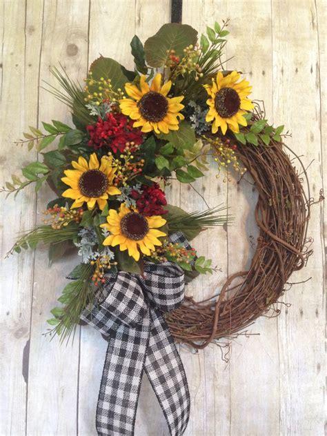 Sunflower Door Wreath by Summer Door Wreath Front Door Wreath Sunflower By Spratsdesign