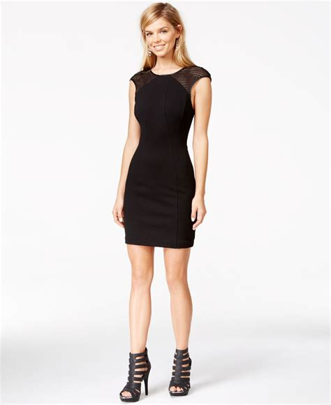 Guess Sprint Black Leather lyst guess faux leather trim striped burnout dress in black