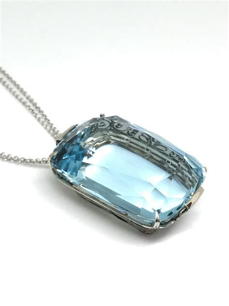 Estate Jewelry by Aquamarine Pendant Estate Jewelry