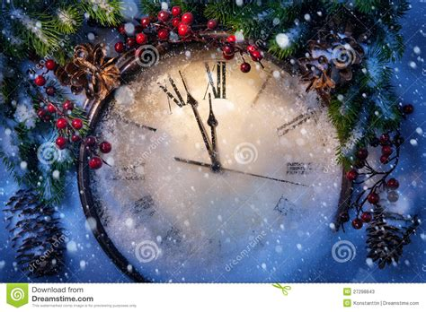 christmas eve   years  midnight stock  image