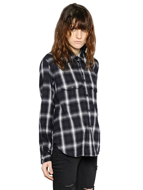 Promo Fashion White Flanel lyst laurent plaid wool flannel shirt in black