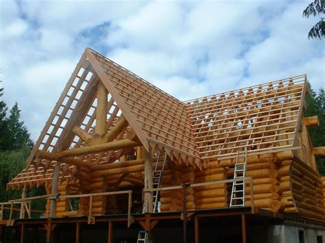 house roof hand framing roof on a log house carpentry picture post contractor talk