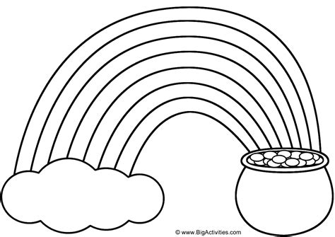 Rainbow Pot Of Gold And Cloud Coloring Page St Printable Rainbow Template