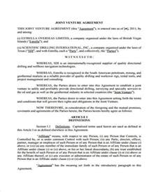 real estate joint venture agreement template 7 joint venture agreement form sles free sle